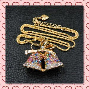Betsey Johnson Christmas Bell Pendant  Necklace
